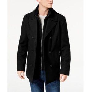KENNETH COLE Black Wool Pea Coat w/ Turtleneck XL